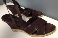 Kelly & Katie And Glitter Accent Ankle Ribbon Wedge B2788 Brown Sandals