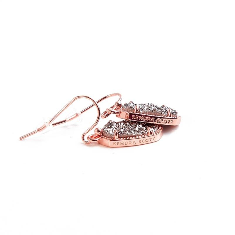 Kendra Scott Rose Gold Lee Platinum Drusy Earrings Tradesy