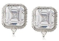 Kenneth Jay Lane Cz By Kenneth Jay Lane Halo Ascher Stud Dazzling Red Carpet Earrings
