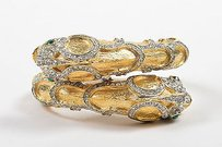 Kenneth Jay Lane Kenneth Jay Lane Gold Tone Textured Scale Rhinestone Embellished Fish Bracelet