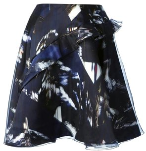 Kenzo Full Organza Floral Rare Skirt Blue Multi