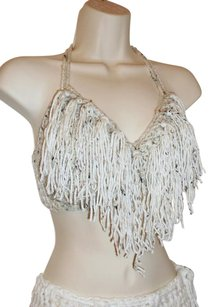 Khosi Clothing & Accessories Fringed Crochet Hippie Fashion Crop Halter Top