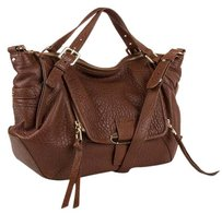Kooba Pebbled Leather Satchel in Antique Brown