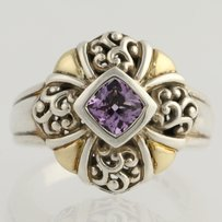 Krementz Amethyst Ring Sterling Silver 18k Yellow Gold Krementz Chunky 0.40ct