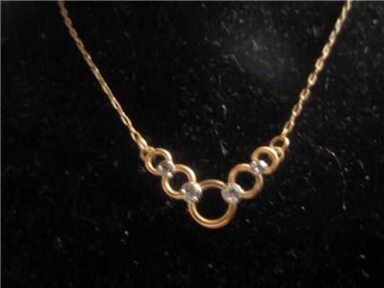 Krementz Yellow and Rose Gold Vintage JewelryDesigner Necklace