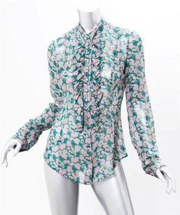 L'Wren Scott Womens Floral Silk Long Sleeve Button Down Shirt Top Multi-Color