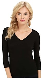 Lafayette 148 New York V-neck Knit T Shirt Black