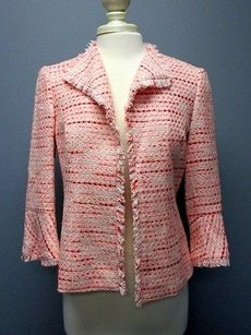 Lafayette 148 New York Lafayette 148 Peach Pink Sleeves Lined Fringe Detail Blazer Sma 6346
