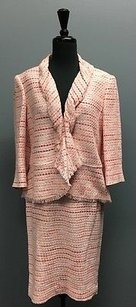 Lafayette 148 New York Lafayette 148 Pink Tweed Fray Collared Blazer And Pencil Skirt Suit 877