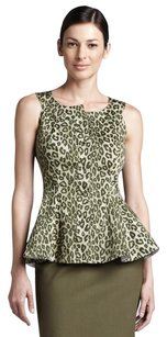 Lafayette 148 New York Leopard Animal Print Peplum Edgy Button Top Green