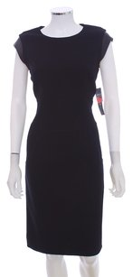 Lafayette 148 New York Ponte Knit Leather Trim Sheath Virgin Wool Leather Classic Dress