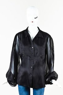 Lafayette 148 New York Silk Top Black