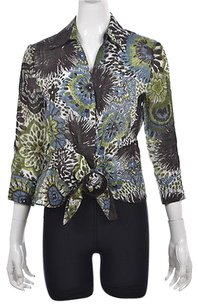 Lafayette 148 New York Womens Brown Floral Linen 34 Sleeve Shirt Top Multi