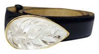 Lalique AUTHENTIC LALIQUE RARE COLLECTIBLE CRYSTAL LEAF EMBELLISHED NAVY LEATHER BELT