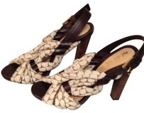 L.A.M.B. Brown/Creamy Beige/Taupe patterned fabric Sandals
