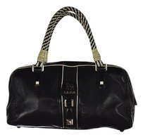 L.A.M.B. Lamb Womens Leather Color Handbag Satchel in Black