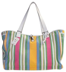 Lambertson Truex Cotton Striped Travel Hso18 Tote in Multi-Color