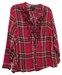 Lane Bryant Ruffled Button Down Shirt Red Plaid