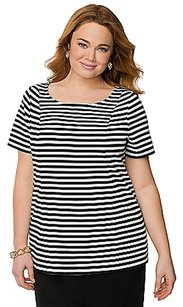 Lane Bryant Stripped Top Black & White