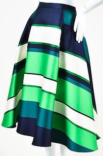 Lanvin Navy Blue Green Cream Skirt Multi-Color