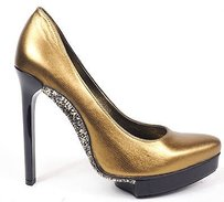 Lanvin Leather Metal Studded Soles Pointy Pumps Heels Gold Platforms
