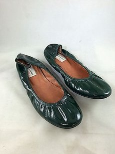 Lanvin Forest Patent Green Flats