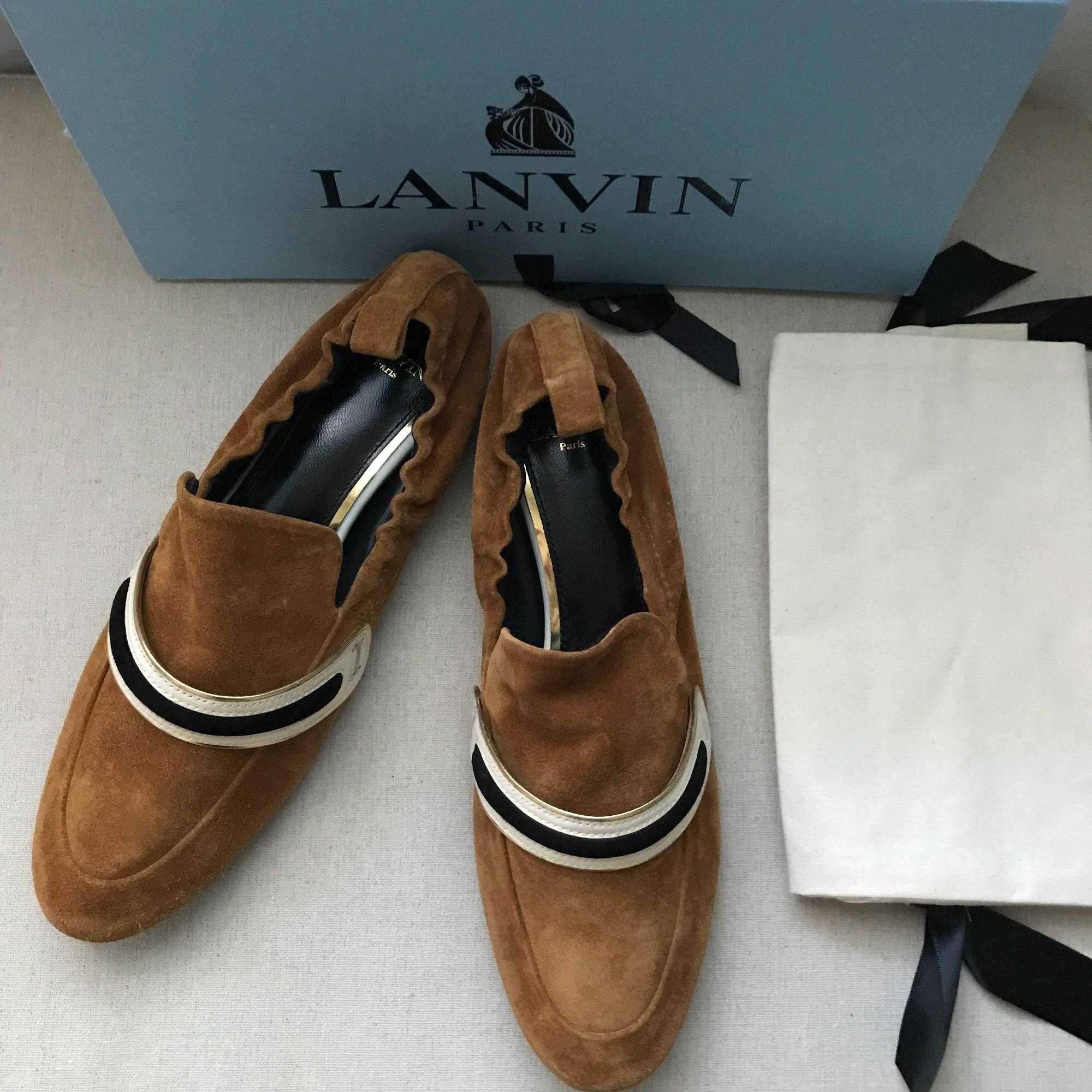 74a2e6f5b ... Lanvin Lanvin Lanvin Brown Banded Suede Moccasin Loafers Flats Size US  8 Regular (M
