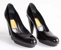 Lanvin Patent Leather Round Toe Thick Heel Platform Perfect Black Pumps