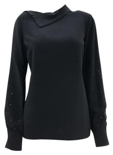 Lanvin Edgy Party Night Out Sparkle Top Black