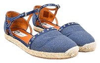 Lanvin Navy Denim Studded Dorsay Espadrille Ankle Strap Sandals Blue Flats