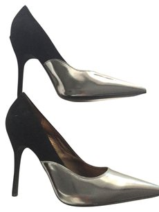 Lanvin Leather Stiletto Black Suede Silver Patent Pumps