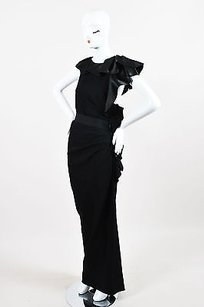 Black Maxi Dress by Lanvin Satin Trim