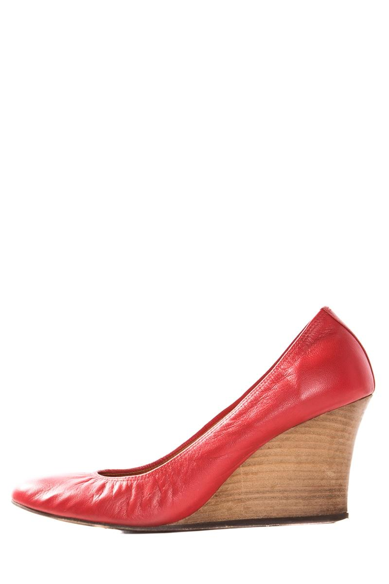 Lanvin Round-Toe Leather Wedges cheap sale outlet for nice dztlx238