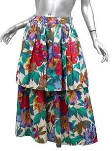 Lanvin Womens Vintage Floral Tiered Full Long Midi Pockets 386 Skirt Multi-Color