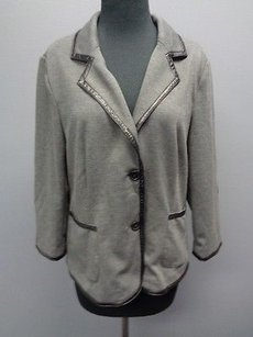 Laundry by Shelli Segal Laundry By Shelli Segal Smoky Gray Poly Blend Knit Blazer Jacket Sma5071