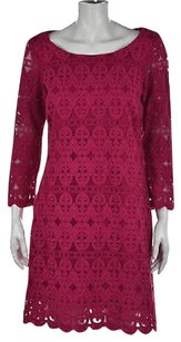 Laundry by Shelli Segal short dress Pink Womens Magenta Embroidered Shift on Tradesy
