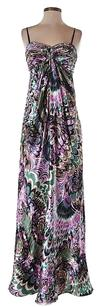 Laundry by Shelli Segal Silk Print Sweetheart Sleeveless Metallic Dress
