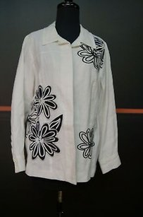 Laura Ashley Laura Ashley White With Black Embroidered Flower Detail Linen Blazer 16277