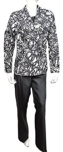Le Suit Le Suit Womens Black White Print Two Piece Pant Suit