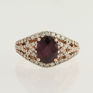 Le Vian Le Vian Rhodolite Garnet Chocolate Diamond Ring 14k Rose Gold Cocktail 0.80ctw