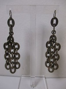 Lee Angel Lee Angel Antique Brass Three Row Link Dangle Earrings