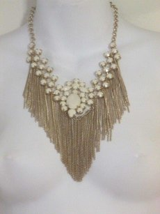 Lee Angel Lee Angel Cabochon Chain Bib Statement Necklace