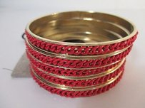 Lee Angel Lee Angel Color Therapy Red Enamel Braid Bangle Set Of Bracelet