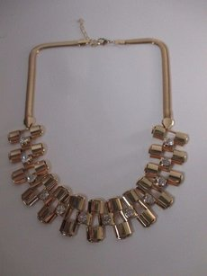 Lee Angel Lee Angel Gold Snake Interlocking Link Crystal Bib Statement Necklace