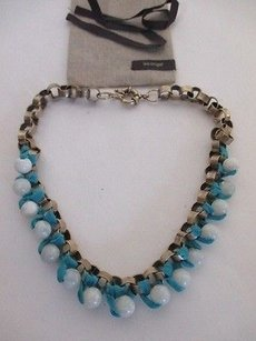 Lee Angel Lee Angel Marti Faceted Turq Blue Glass And Henna Silk Necklace