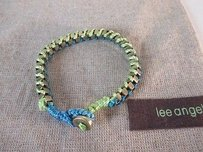 Lee Angel Lee Angel Marti Faceted Turq Green Brass Henna Silk Toggle Bracelet