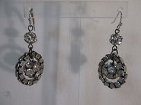 Lee Angel Lee Angel Silver Box Link Crystal Fireball Dangle Earrings
