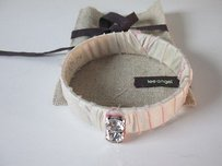 Lee Angel Lee Angel Silver Cream Pink Tie Dye Wrap Silk Crystal Bangle Bracelet