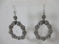 Lee Angel Lee Angel Silver Mesh Crystal Ring Hoop Earrings