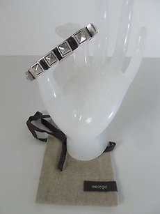 Lee Angel Lee Angel Silver Spike Pyramid Silver Square Bangle Bracelet